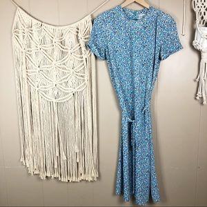 Vintage bill berman blue floral midi shift dress M